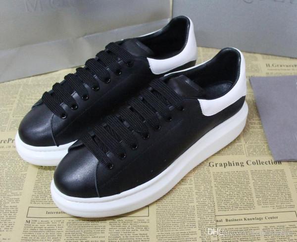 Melhor qualidade de luxo designe tênis de grandes dimensões para as mulheres do homem de couro real caixa original sapatos de grife moda casual sneaker branco e preto