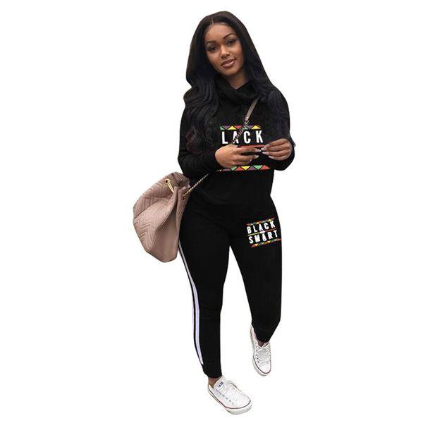 Schwarz Smart Letter Print Frauen Trainingsanzug Langarm Sweatshirt Hoodie + Pants Hosen 2er Set Sweatsuits Sweater Outfit Sportswear A22202