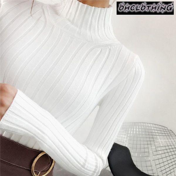 2019 jersey de cuello alto negro y semi pequeña hembra gruesa apretada delgada camisa de manga larga SH190930 todo-fósforo de punto corta fresca