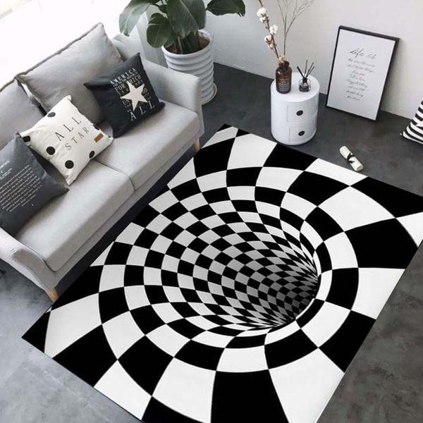 Tapis 3D luxe Géométrie Illusion D'optique Tapis Surface Salle De Bain Salon Étage Antidérapant Tapis Chambre Chevet Tapis Décor
