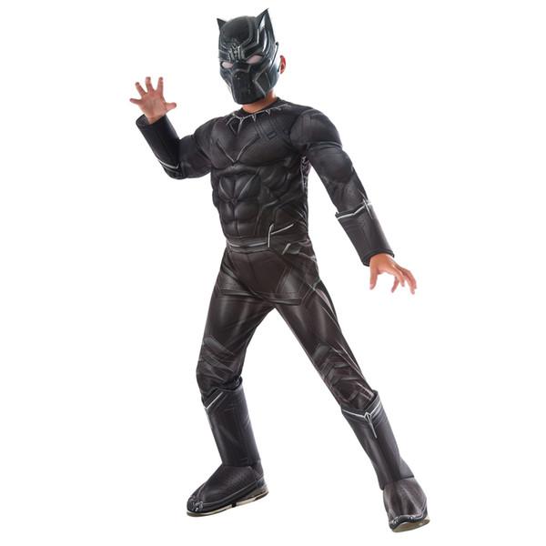 Alta calidad precio al por mayor Niños de la guerra civil Negro Pantera traje de lujo de los trajes de Halloween traje adulto de Cosplay de la muerte