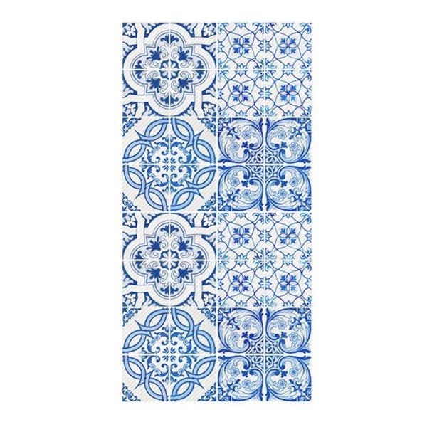 Adesivo in vinile stile piastrelle blu adesivo autoadesivo antiscivolo impermeabile bagno soggiorno cucina pavimento decorazione carta da parati