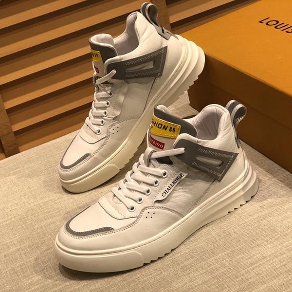 scarpe di cuoio 2020z della lettera di modo di fascia alta degli uomini comodi scarpe sportive casuali high-top, stivaletti da uomo di moda selvatici, scatola originale di consegna