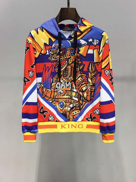 Новый продукт 2019 интерпретации осень платье молодых мужчин в Европе и Америке вентилятор дракона мультфильма напечатаны мужской свитер с капюшоном с длинными рукавами