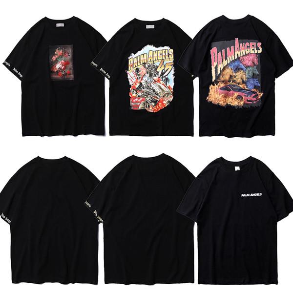 2019 New Palm Angels T-Shirts Men Women Hip Hop Casual Palm Angels T Shirt Streetwear 3D Printing Painting Palm Angels Tshirts