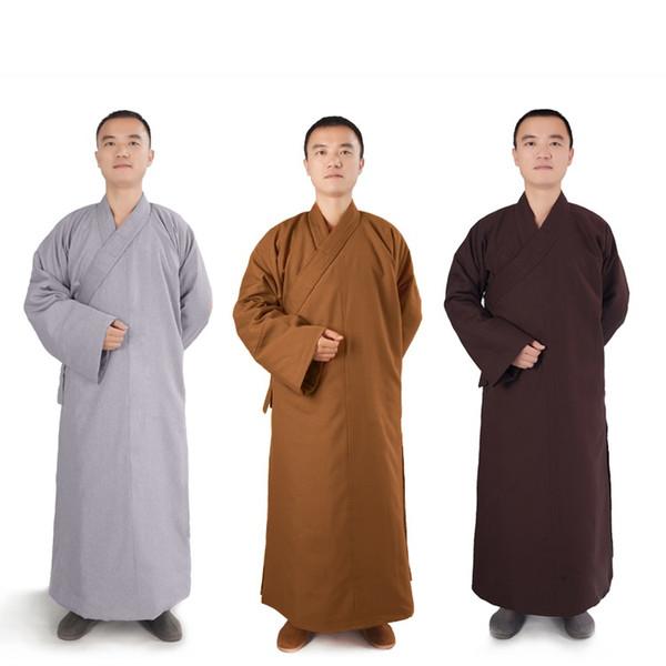 2019 Männer Frauen Baumwolle Buddhistischer Mönch Robe Lange Winter Warm Frock Buddhismus Meditation Grau Braun Gelb Neu