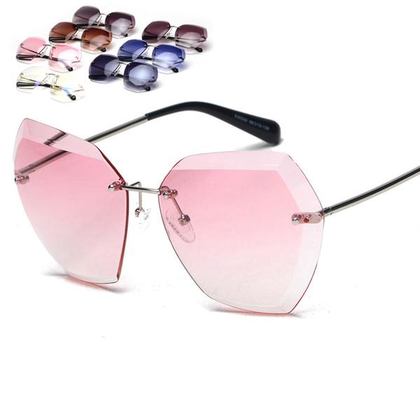 Occhiali da sole fashion per donna oversize senza montatura con taglio a diamante lenti da sole occhiali da sole multicolore