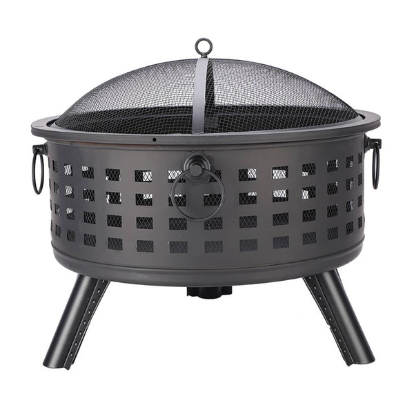 New 26'' Round Lattice Steel Fire Bowl Outdoor Gadgets lightweight for easy operation Small size Black