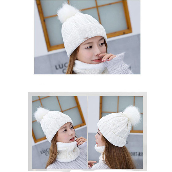 top popular Women Knit Beanie Cap Chunky Hat with Faux Fur And Neck Cover Pompom Winter Soft Warm Ski Cap HH9-2510 2021