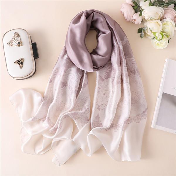 2019 New Silk Scarf Women Fashion Spring Ethnic Flower Printing Foulard Female Shawls&Wraps Beach Towel Soft Scarves Kerchief 180*90cm