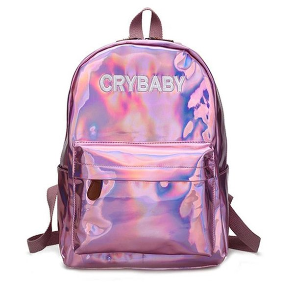 Hot Sale Embroidery Letters Crybaby Hologram Laser Backpack Women Soft PU Leather Backpack School Bags for Girls Free Shipping B11