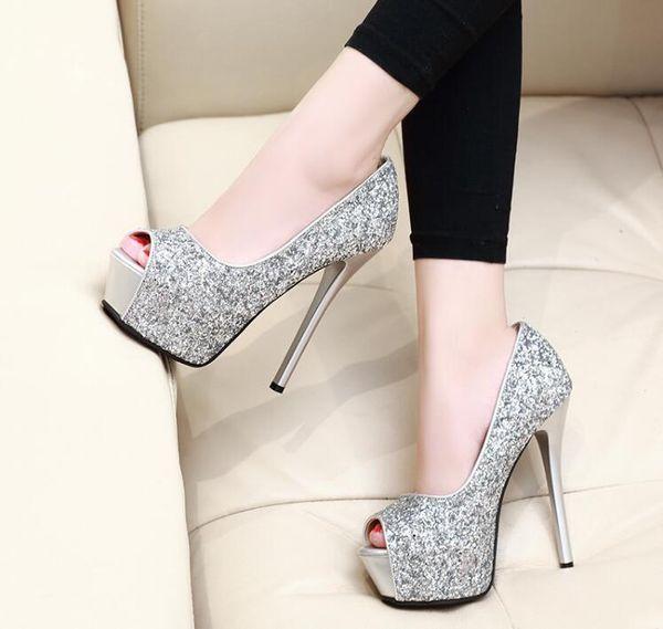 Silver heel 14 cm high