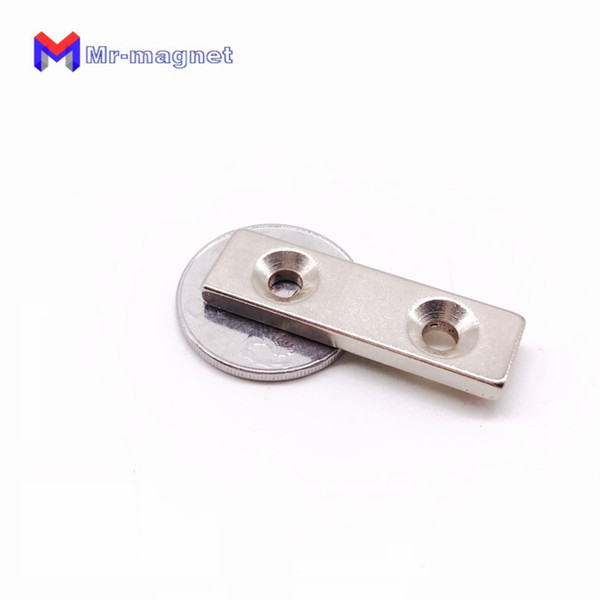 Rushed Imanes De Nevera 10pcs 40*10*3mm Neodymium Rare Earth Magnet Hole 5mm Rectangle Strong Ndfeb 40x10x3mm Two Countersunks Magnets