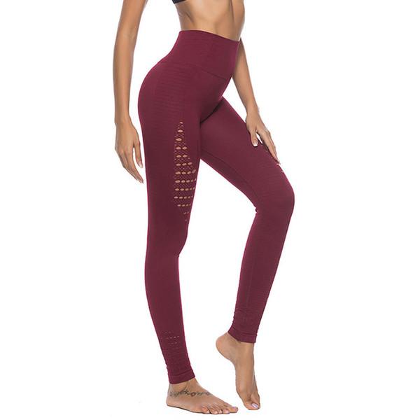 Europeu e americano novo sem costura oca-out Yoga Pants com calças de cintura alta, quadril e apertado exercício inferior do corpo