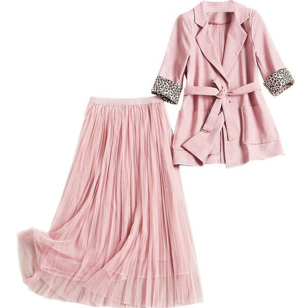 Spring 2019 New Women's Set Leopard-print Half-sleeve Blazers and Mesh Skirt Suit Office Lady Women's Set 50455