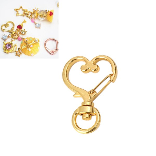 DoreenBeads Брелок из сплава на основе цинка, брелок в форме сердца, золото, розовое золото, аксессуары DIY выводы 35 мм (1 3/8