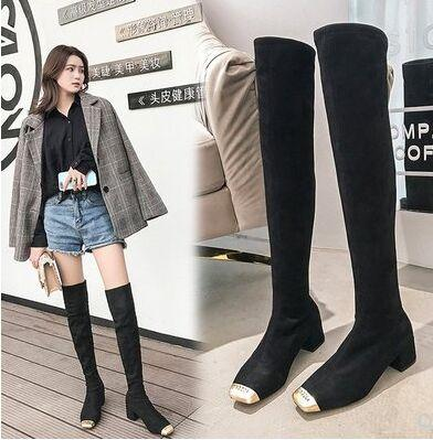 New Arrival Hot Sale Specials Super Fashion Sexy Plus Velvet Trend Package Box Metal Toe Legs Stretch Knight Overknee Heels Boots EU35-39