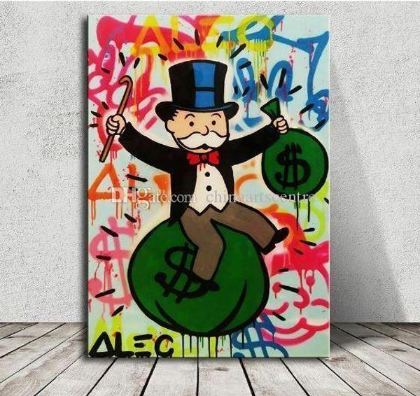 vA. Alec Monopoly Banksy Sit on Money Bag dipinto a mano pittura astratta Graffiti a olio di arte su tela di canapa della parete di arte della decorazione della casa di qualità alta G196
