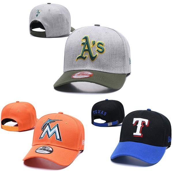2019 Erkek womens Oakland Atletizm yeni top kap Snapback Miami Marlins örgü Beyzbol şapkaları Texas Rangers Beyzbol tasarımcı şapka caps