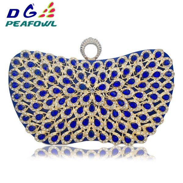 Nouveau design bleu métal Diamants perles sacs à main fleur Filles élégant mariage Sacs à main soirée Sacs Ladies Day Party Sac à main