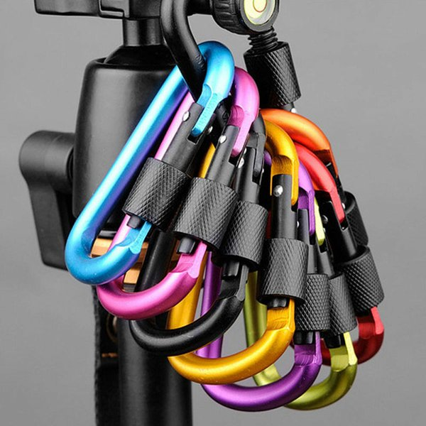 8cm alliage d'aluminium mousqueton d-anneau pince de la chaîne de la clé multicolore camping porte-clés mousqueton crochet extérieur suspendu boucle en aluminium