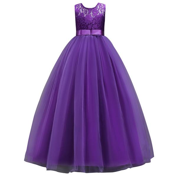 2020 Stok Beyaz Mor Prenses Dantel Çiçek Kız Elbise 2019 AYDINLATMA Çocuk Balo doğum günü partisi Elbiseler Çocuk Mesh Elbise In