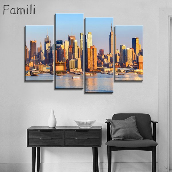 Fashion HD Printed New York City Canvas Painting Children's Room Home Decor Paintings 4Panel Frameless Wall Art Paintings