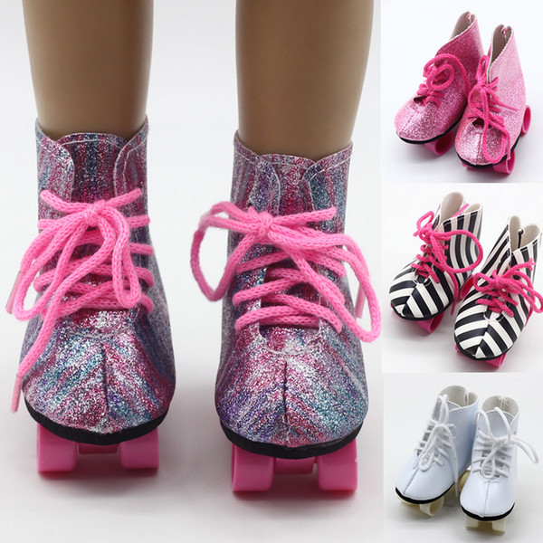 18 Inch Girl Doll Snow Boots Skating Sport Shoes Fit 43cm Baby Doll Skating Shoes For The Kids Best Gift