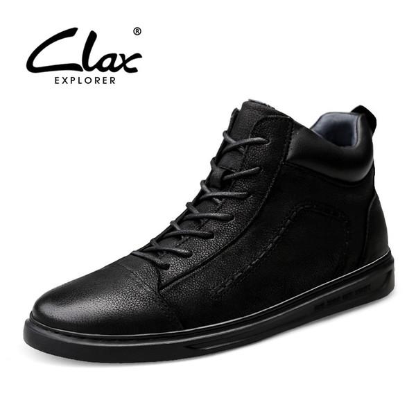CLAX Hombre Botas de cuero genuino de otoño para hombre Zapatos de cuero para hombre Botines hechos a mano Calzado para caminar