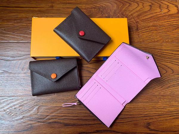 Porte-monnaie en cuir PU pour les femmes en gros design multicolore femmes porte-carte courte bourse de portefeuille poche zippée classique avec boîte