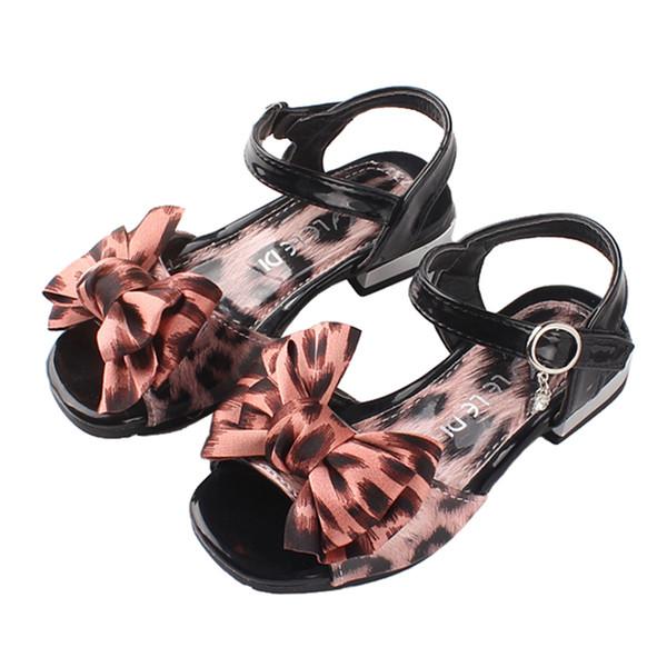 2019 Summer Children Shoes for Girls Leopard Print Bow Princess Kids Girl Sandals Fashion Comfortable Non Slip Sandalen
