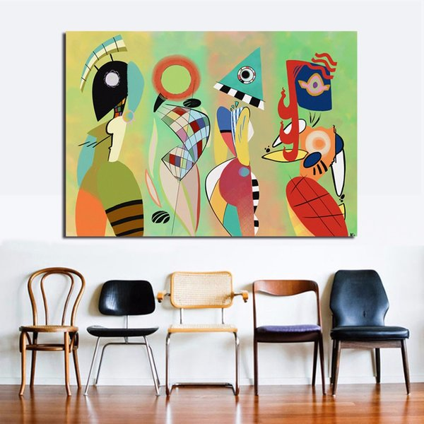 100% Handmade Abstract Canvas Art Wassily Kandinsky Wall Pictures For Living Room Bedroom Modern Painting Home Decor No Frame