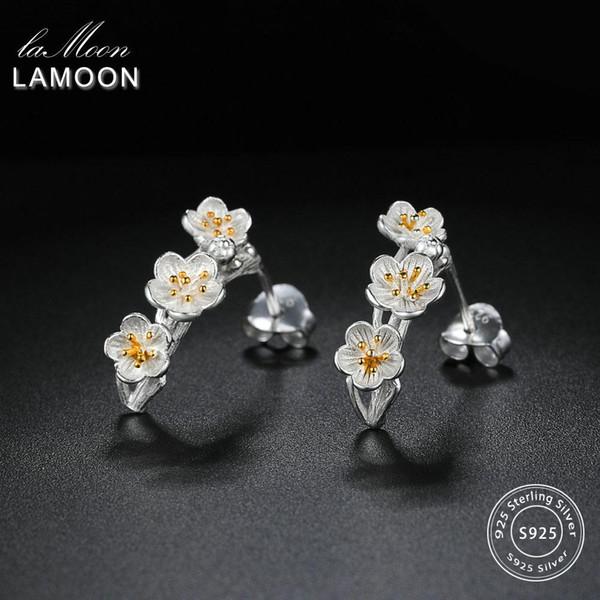 Lamoon 2018 New 2colors Fleur 100% réel 925 en argent sterling Boucles d'oreilles S925 Fine Jewelry pour les femmes fille cadeau LMEY242