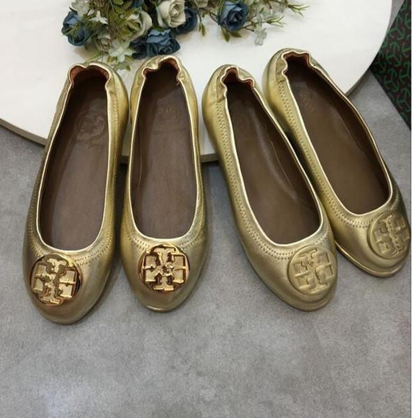 Zapatos de las zapatillas de ballet de las mujeres Marca de moda genuino Leathe original plana super suave inferior lindo OL de piel de cordero plegable de yoga zapatos casuales