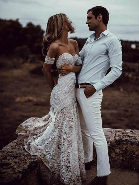 Vintage Crochet Lace Mermaid Wedding Dresses 2019 Off Shoulder Cotton Applique Trumpet Beach Bohemian Country Bridal Gowns Rue De Seine