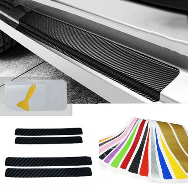 4Pcs/Set Universal Car Styling Sticker Carbon Fiber Door Sill Scuff Plate Guards Door Sill Protector Car Accessories 13 Colors