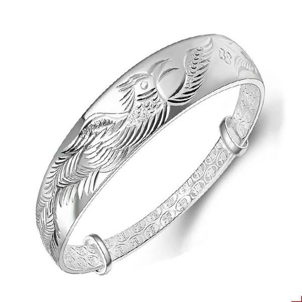 Ethnic Fashion Elegant Woman Child Gift Phoenix Push Pull Sterling Silver Bangle Adjustable women jade bracelet jade lotus
