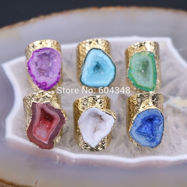 5pcs Mixed Colors Geode Ring Golden Electroformed Freeform Drusy Gem Stone Jewelry Rings J 190514