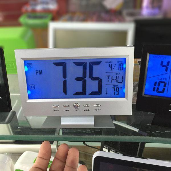 LED Ses Kontrolü ile Alarm Masa Saati Hava Monitör Takvim Elektronik Dijital Arka ışık Saatler QP2