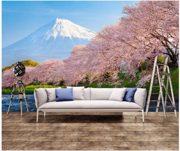 Wdbh 3d Wallpaper Custom Photo Japanese Style Cherry Blossom Mount Fuji Living Room Home Decor 3d Wall Murals Wallpaper For Walls 3 D Celebrities