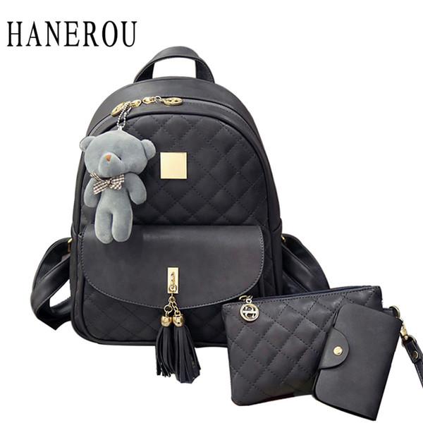 3 Pcs Bear Backpack Women Bag Diamond Lattice School Bags For Girls Backpacks For Women 2018 New Tassel Shoulder Bags Sac A Dos