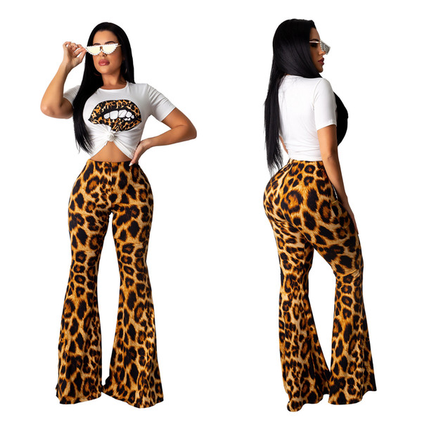 Best selling casual lips print top + leopard high waist flare pants two sets of ladies fashion suit