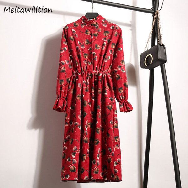 2017 Hot Sale Winter Dress For Women Floral Printed Ladies Red Dress Autumn Spring A Line Fashion Korean Clothing