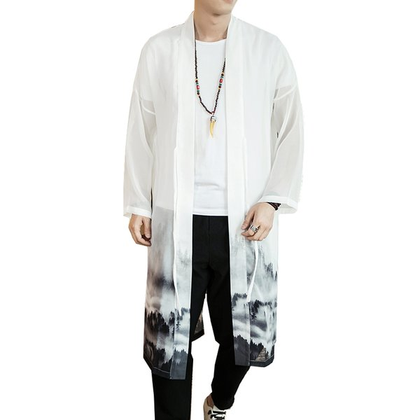 2019 homens Jacket Novo Chinês Estilo Branco longo verão chiffon vestido solto homens protectores solares confortável jaquetas Coats Tamanho