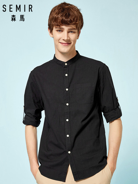 SEMIR Mens Band-Collar Shirt in 100% Cotton with Chest Pocket Long Sleeves with Roll-up Tab and Button Men's Regular Fit