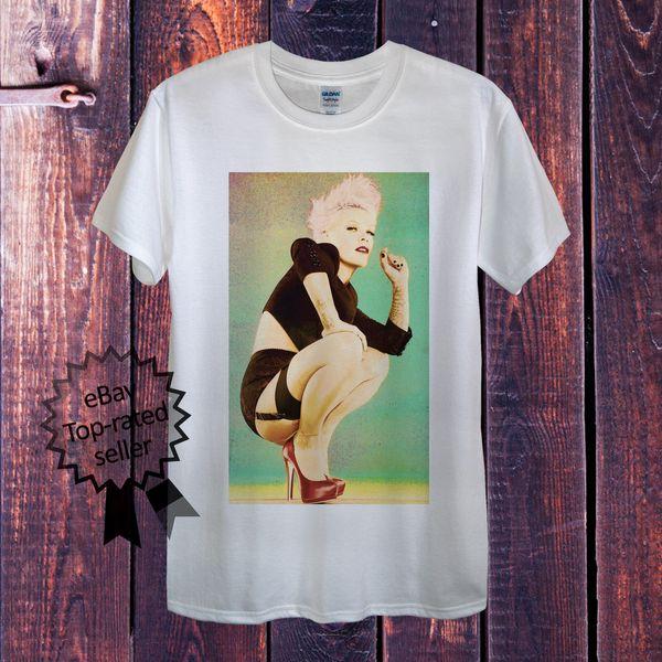 Розовая Футболка Майка Певицы P!nk белый хлопок S M L XL XXL поп-рок Великобритания США с коротким рукавом плюс размер футболки цвет Джерси печати футболка