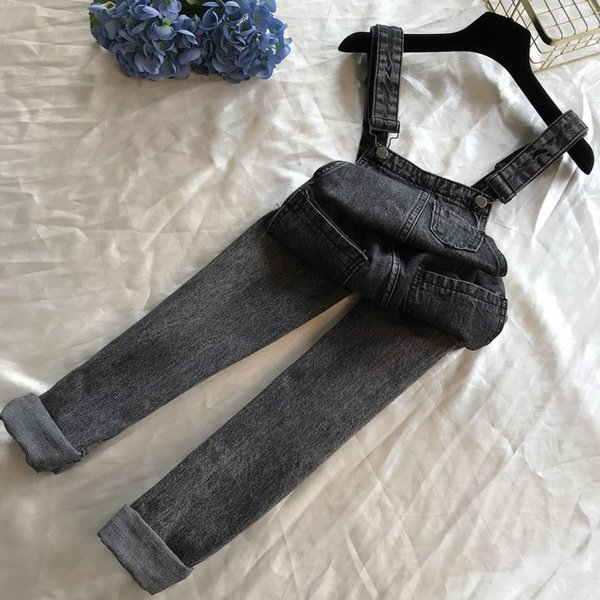 2019 New Spring and Autumn Students Loose Jeans Strap Pants Simple High Waist Slim Denim Overalls Women's Trousers