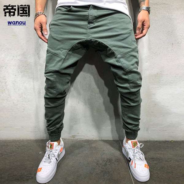 Men's Overalls Fitness Active New Pure Color Loose Multi-pocket Streetswear Casual Fashion Young Men High Quality China Made Pants