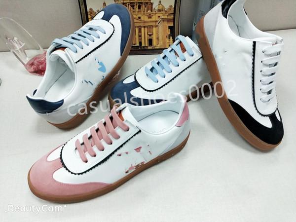 2019 Luxury Designer's Shoes Lady's Classic Frontrow Sports Shoes Black Pink Blue Platform Leather Leisure Sports Shoes
