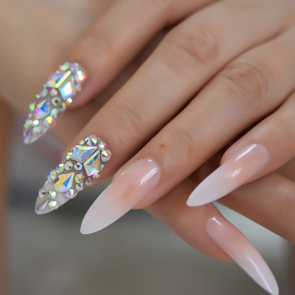 Luxe 3D AB Gems Gradient Rose Nude Appuyez sur les ongles Baby Ombre Extra Longue Stiletto Faux Faux Ongles Astuces